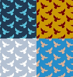 Set of flying pigeons seamless pattern flock of vector