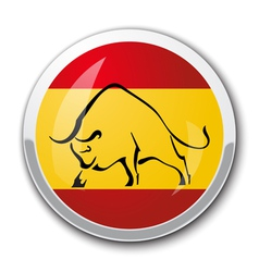 Silhouette of a bull in the national Spanish flag vector