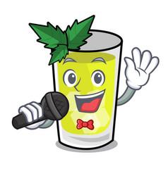 Singing mint julep mascot cartoon vector