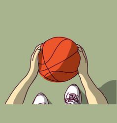 Sport basketball hands feet and ball top view vector
