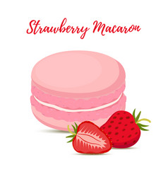 Strawberry macaron with meringue cream vector