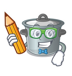 Student cartoon cookware stock pot in kitchen vector