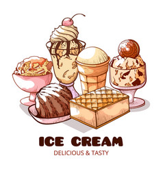 sweet ice cream poster delicious and tasty set vector image