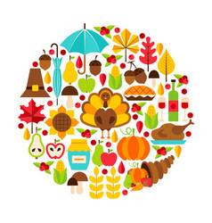 Thanksgiving day objects concept vector