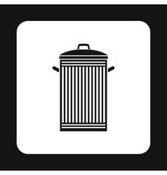 Trash can with lid icon simple style vector