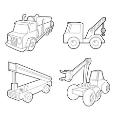 Truck icon set outline style vector