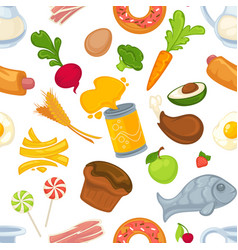 unhealthy and healthy food and products seamless vector image