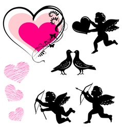 valentines day symbols set vector image
