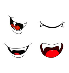 Vampire mouth fang smile set isolated on white vector