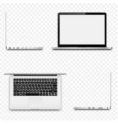 Various sides of laptop isolated on transparent vector