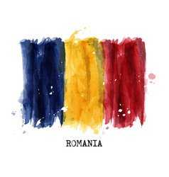 Watercolor painting design flag of romania vector
