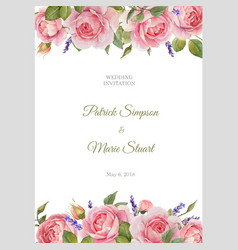 Watercolor rose floral invitation card vector