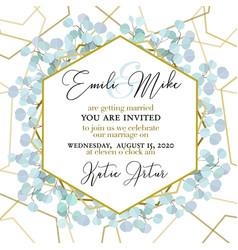 Wedding invitation floral invite thank you green vector