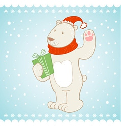 White polar bear Christmas greeting card vector image