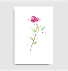 white postcard and beautiful flowers water colors vector image