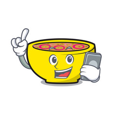 With phone soup union character cartoon vector