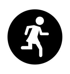 Woman running silhouette emblem icon vector