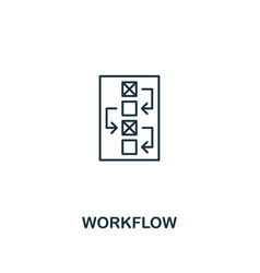 workflow icon thin outline style design from vector image