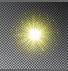Yellow explode effect glowing transparent light g vector