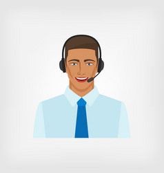 Young man operator call center vector