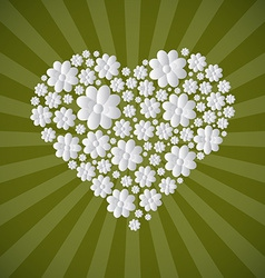 Heart Shaped Paper Cut Flowers on Green Retro vector image vector image