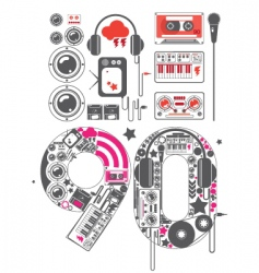 nineties groove icon set vector image
