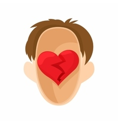 Red heart in the head icon in cartoon style vector image