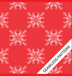 seamless knitted pattern with flower pattern vector image vector image