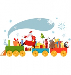 Christmas train vector image vector image