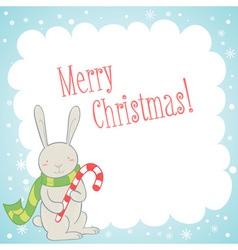 Cute bunny Christmas greeting card vector image vector image