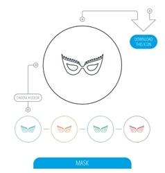 Festive mask icon Masquerade carnival sign vector image