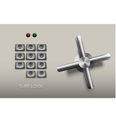 realistic safe lock metal element on white vector image