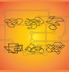 set of six mechanical schemes engineering vector image vector image