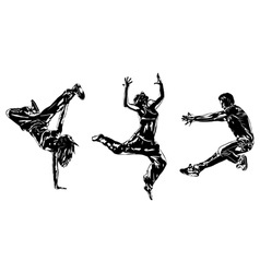 Three modern dancers silhouettes vector image