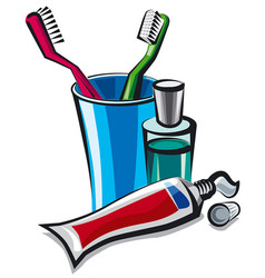 toothpaste and toothbrushes vector image vector image