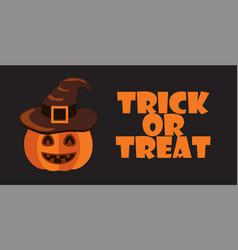 trick or treat sign halloween poster pumpkin hat vector image vector image