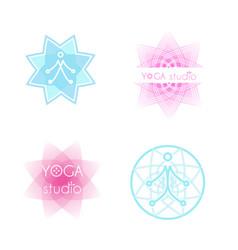 yoga logo set vector image