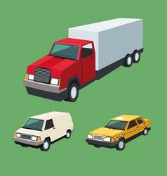 auto truck garage car set design vector image
