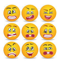 smiley faces with different facial expressions set vector image vector image