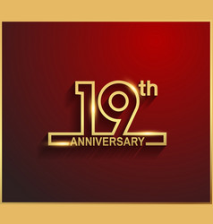 19 anniversary line style golden color vector