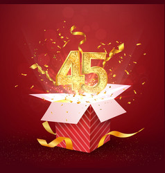 45 th years number anniversary and open gift box vector
