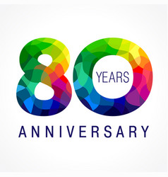 80 anniversary facet color logo vector image