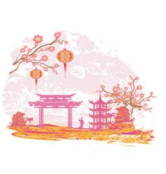 Abstract landscape with geisha vector
