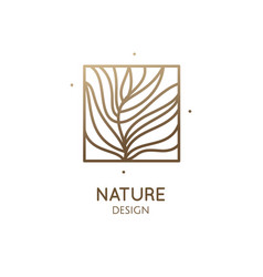 Abstract tropic plant minimal logo vector