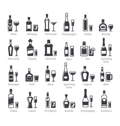 alcohol bottles black glyph icons vector image