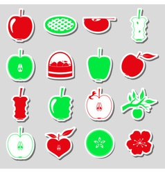 Apple theme red and green simple stickers set vector