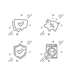 Approved loan percent and confirmed icons set vector
