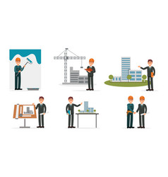 architect series with designing projects vector image
