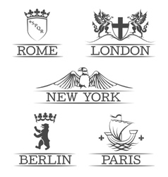 Arms Paris and Rome emblems New York London vector