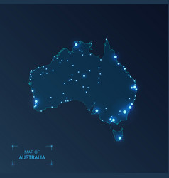Australia map with cities luminous dots - neon vector